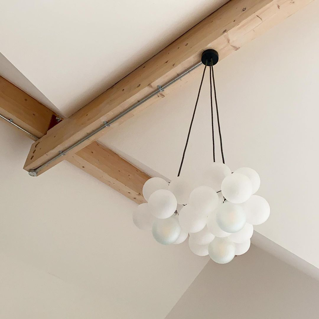 Medium frosted bubble chandelier