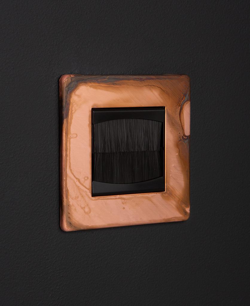 copper & black single brush plate