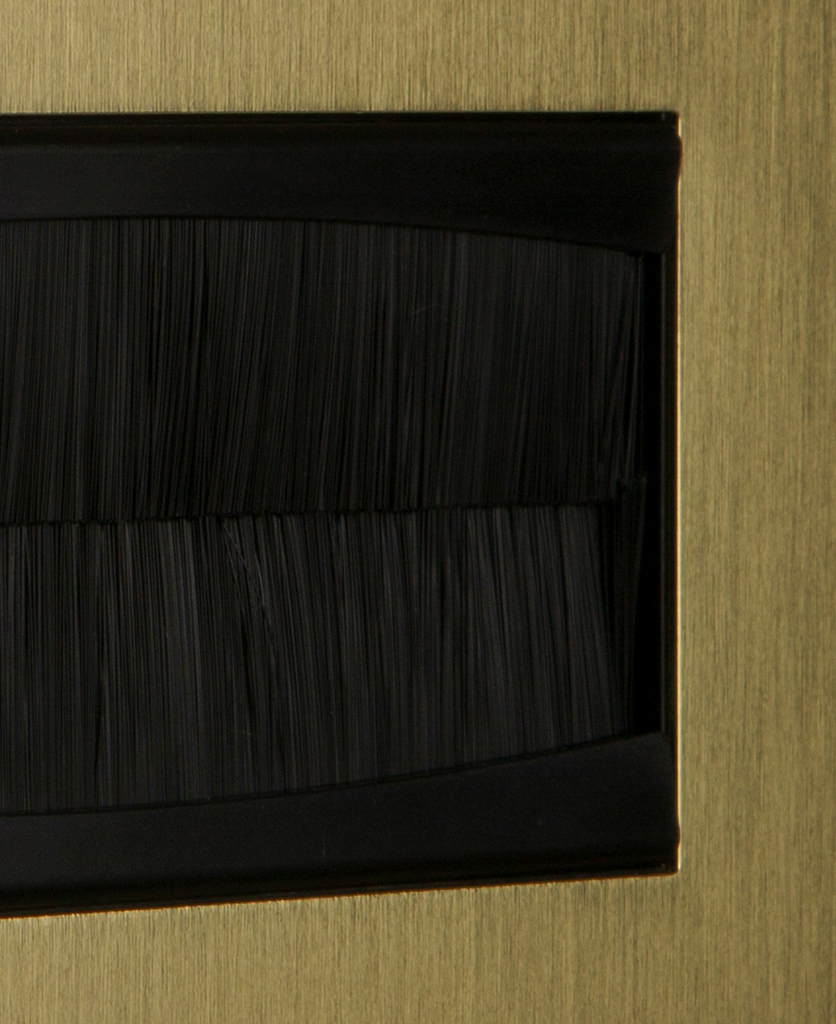 closeup gold & black double brush plate