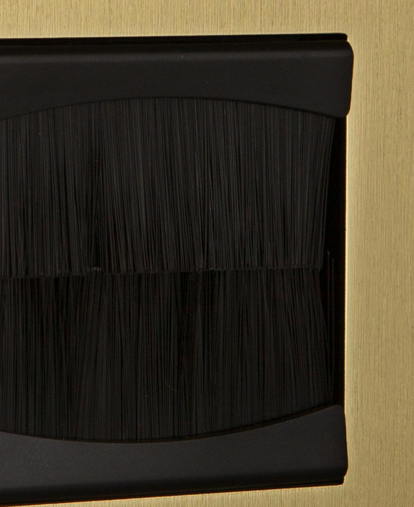 closeup gold & black single brush plate