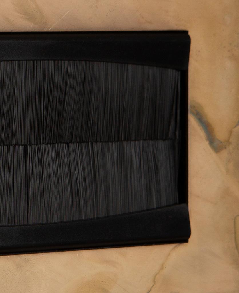 closeup smoked gold & black double brush plate