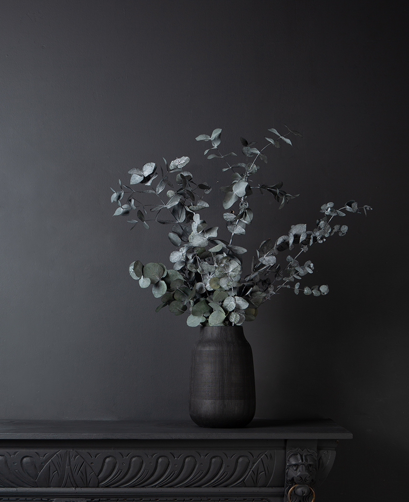 preserved eucalyptus cinerea bouquet in a black textured vase against a black background