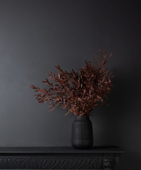 Red eucalyptus bouquet in a black vase against a black wall