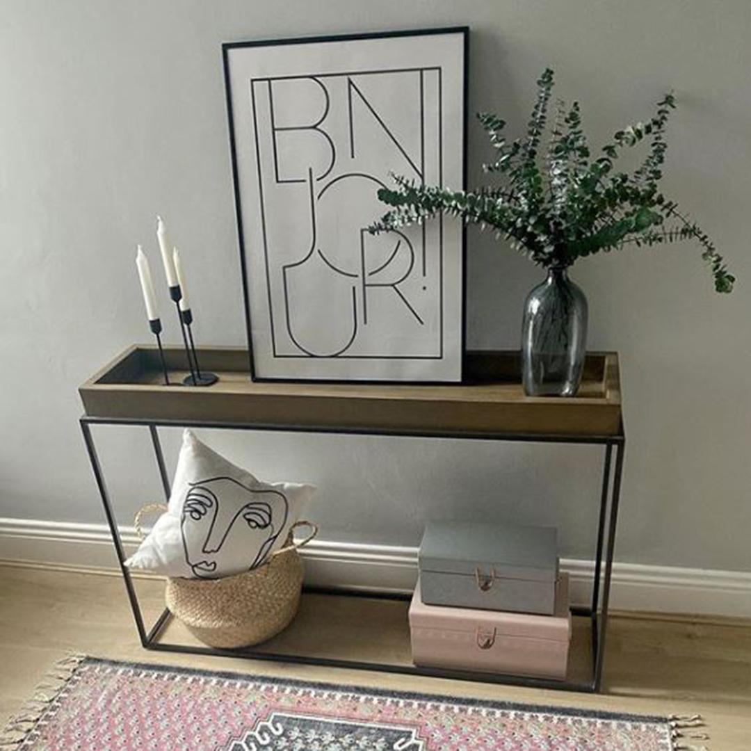 eucalyptus cinerea bouquet on a side table