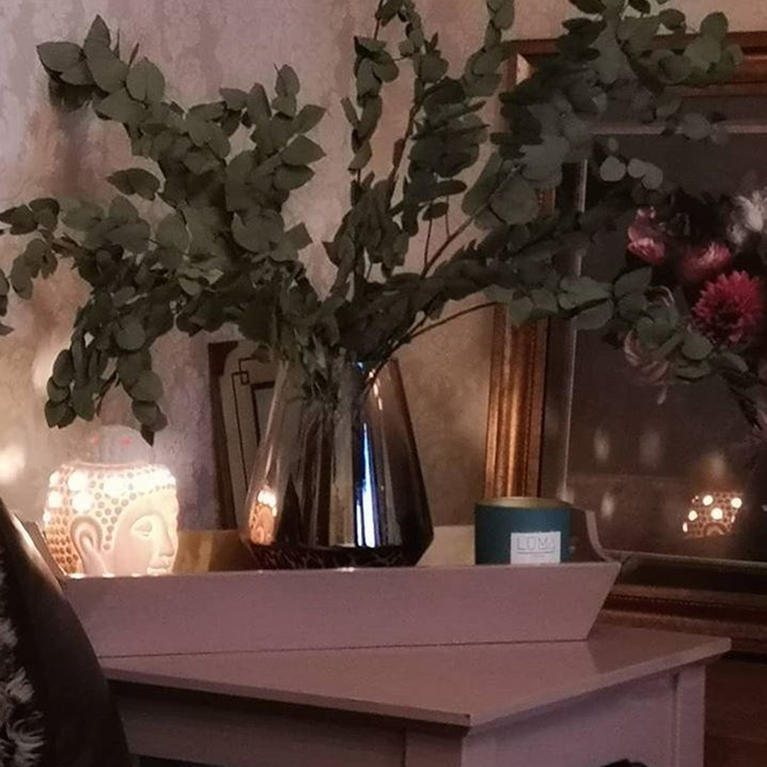eucalyptus stuartiana in a black mirrored glass vase on a dusty pink side table