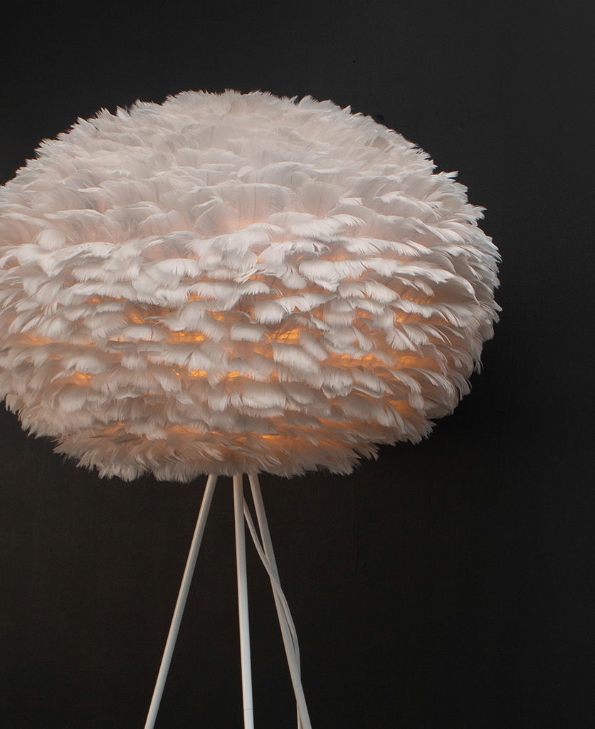 close up of Grey tripod floor lamp with feather shade and white tripod base against black background