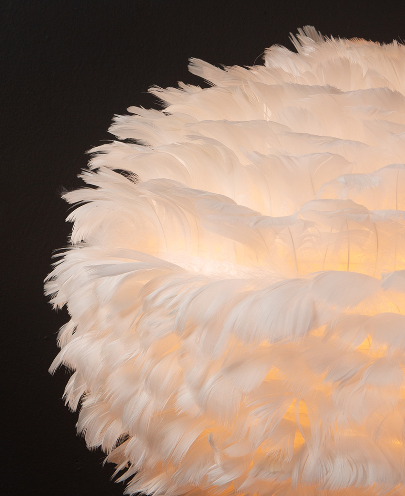 Closeup of white feather light shade against black background