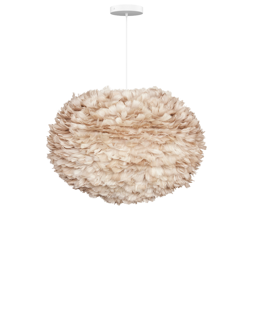 light brown large feather light shade suspended from white fabric cable on white background