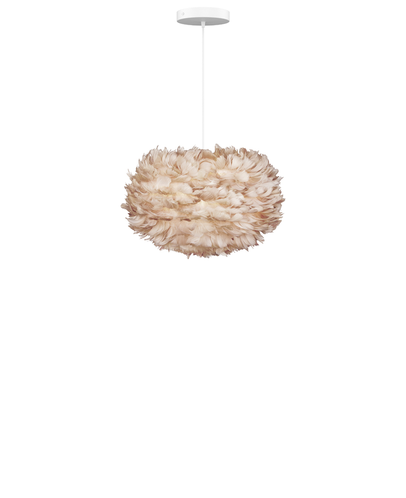 medium umage brown feather lamp shade suspended from white fabric cable against a white wall