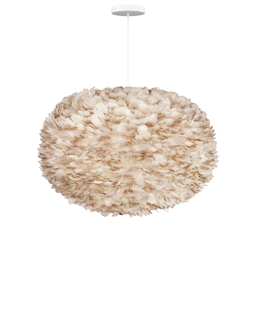 brown xl light feather light shade suspended from white fabric cable on white background