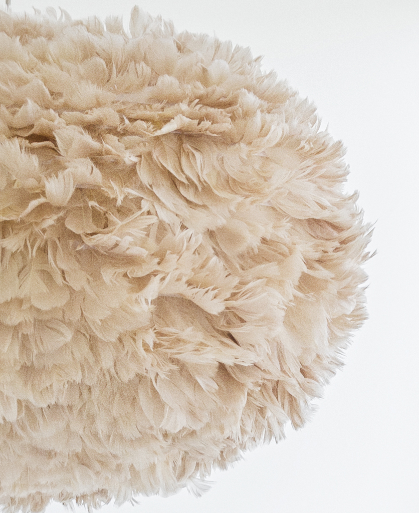 brown umage feather lamp sahde closeup on white background