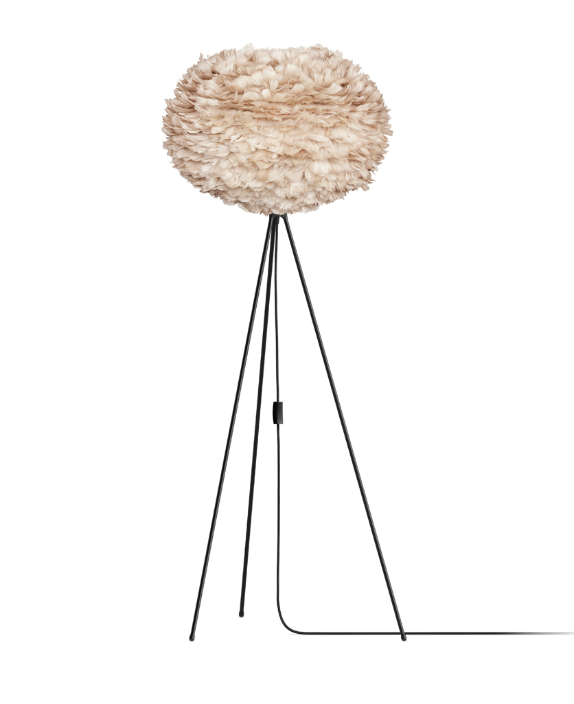 brown umage large feather floor lamp with black stand against white background