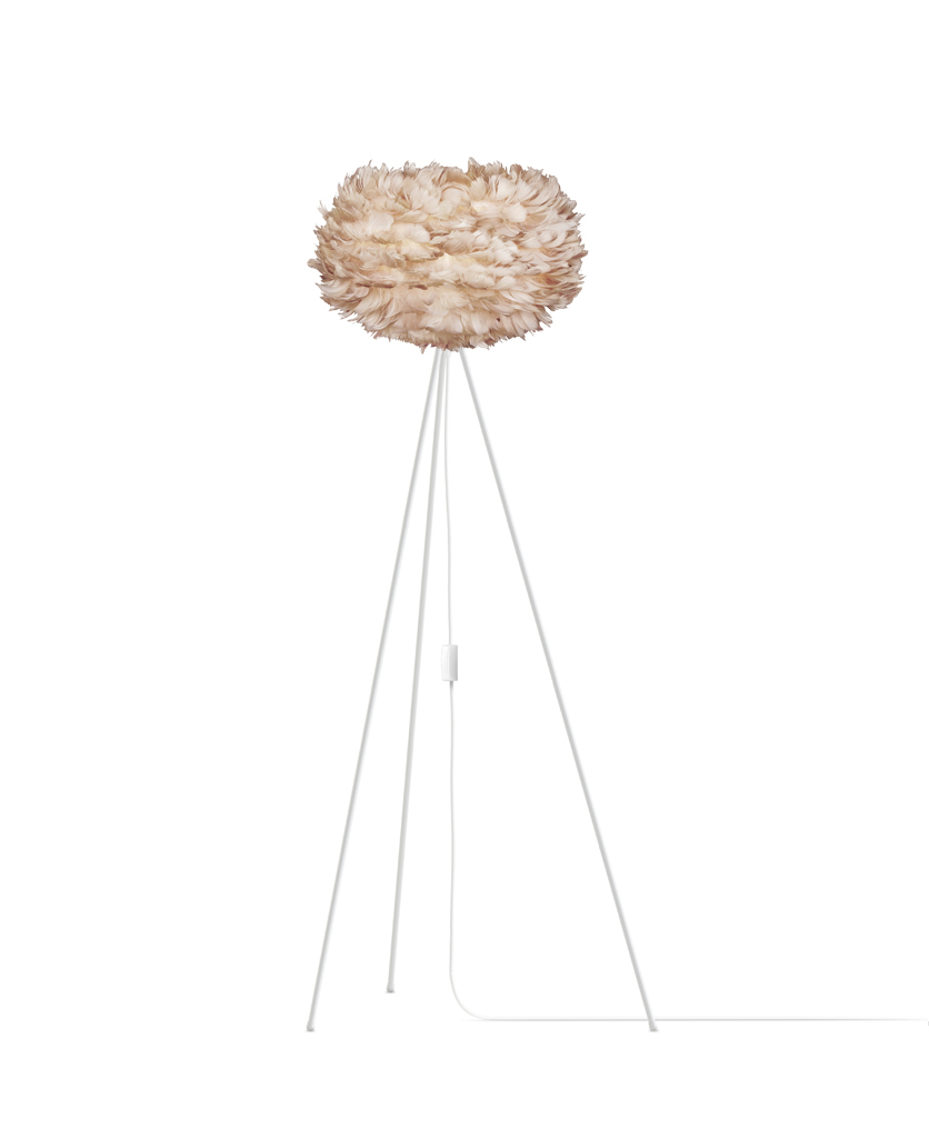 brown umage large feather floor lamp with white stand against white background