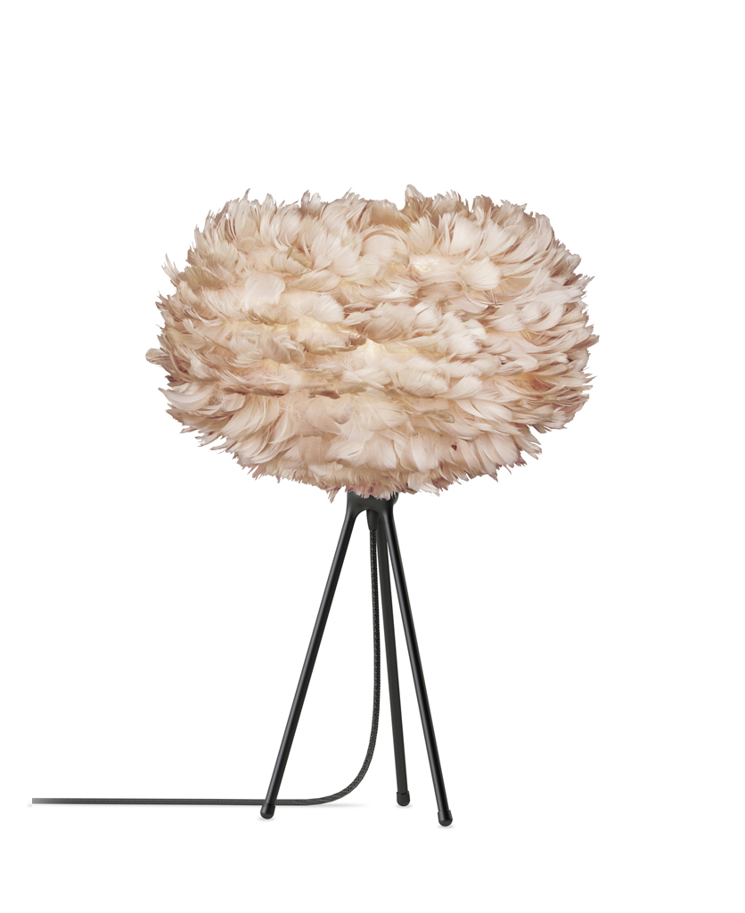 medium white feather lamp shade with black tripod base against white background