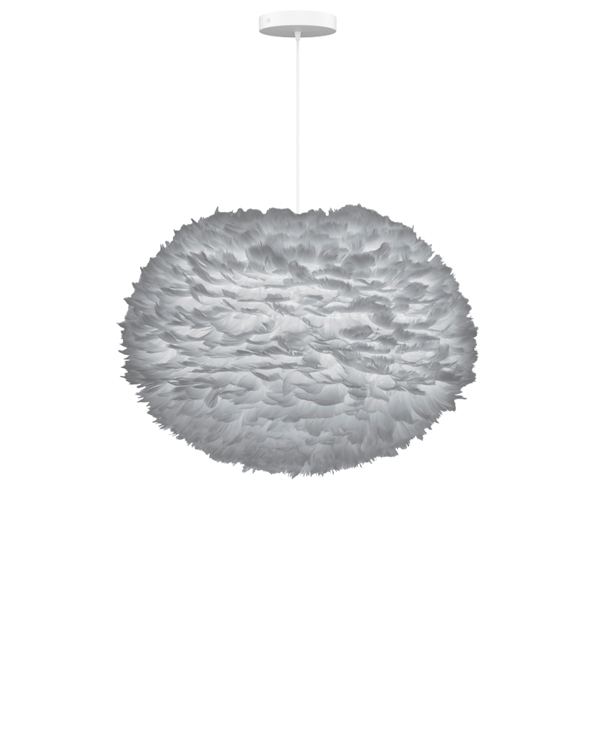 large grey feather lampshade suspended from white fabric cable against white background