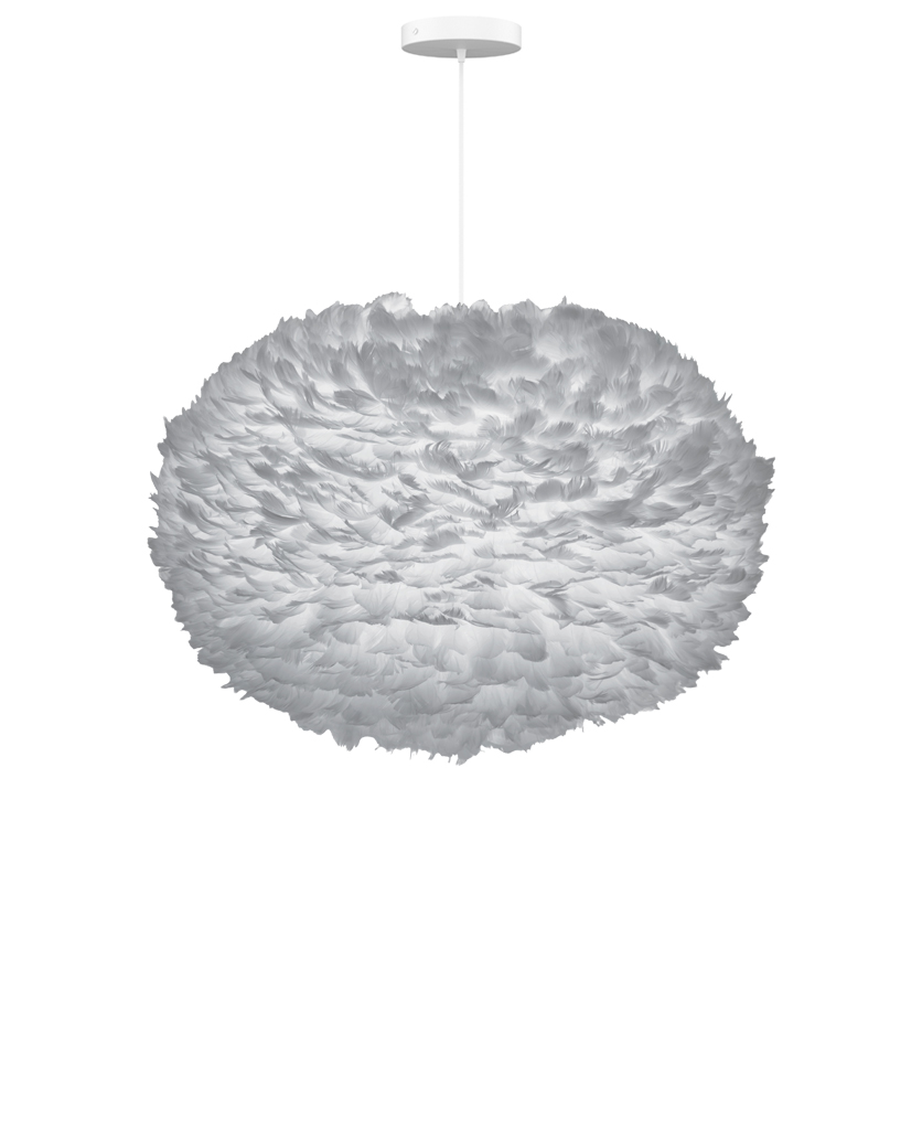 extra large grey feather lampshade suspended from white fabric cable against white background