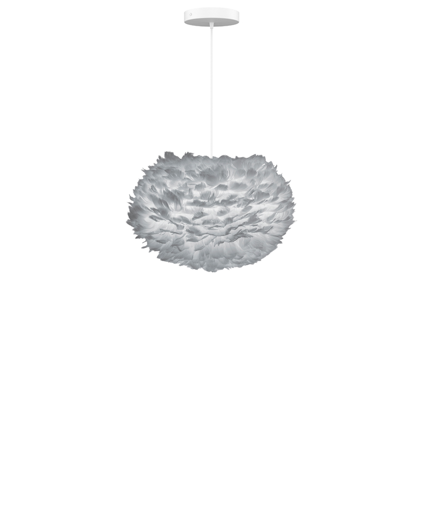 medium grey feather lampshade suspended from white fabric cable against white background