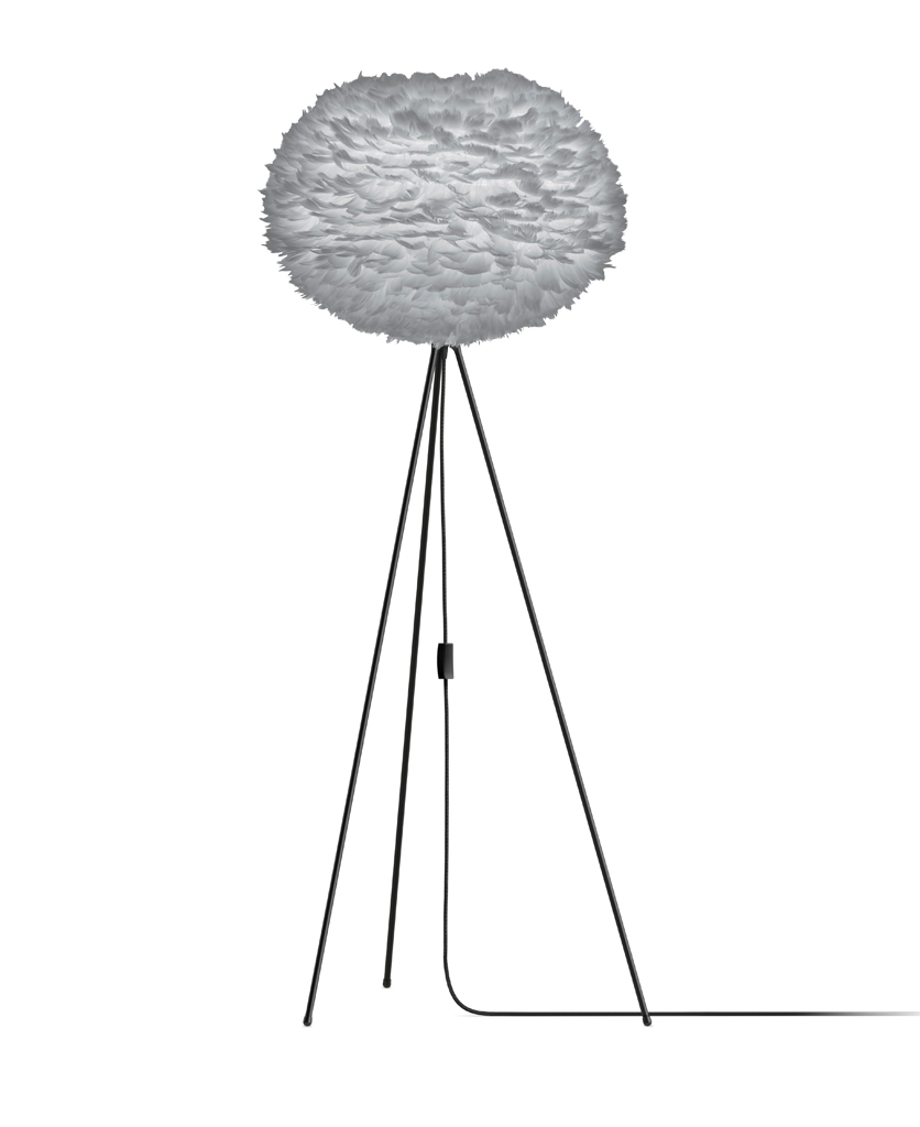 grey umage large feather floor lamp with black stand against white background