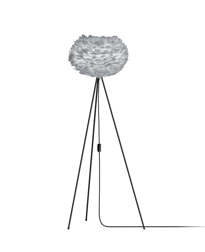 grey umage medium feather floor lamp with black stand against white background