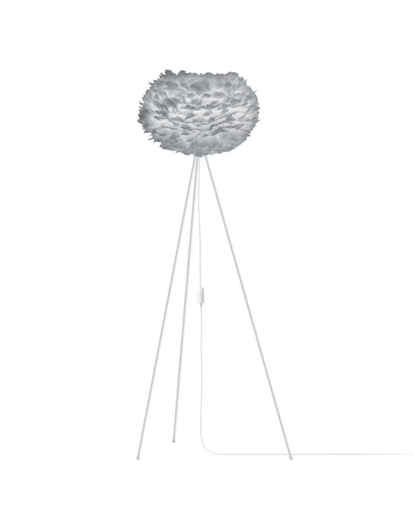 grey umage large feather floor lamp with white stand against white background