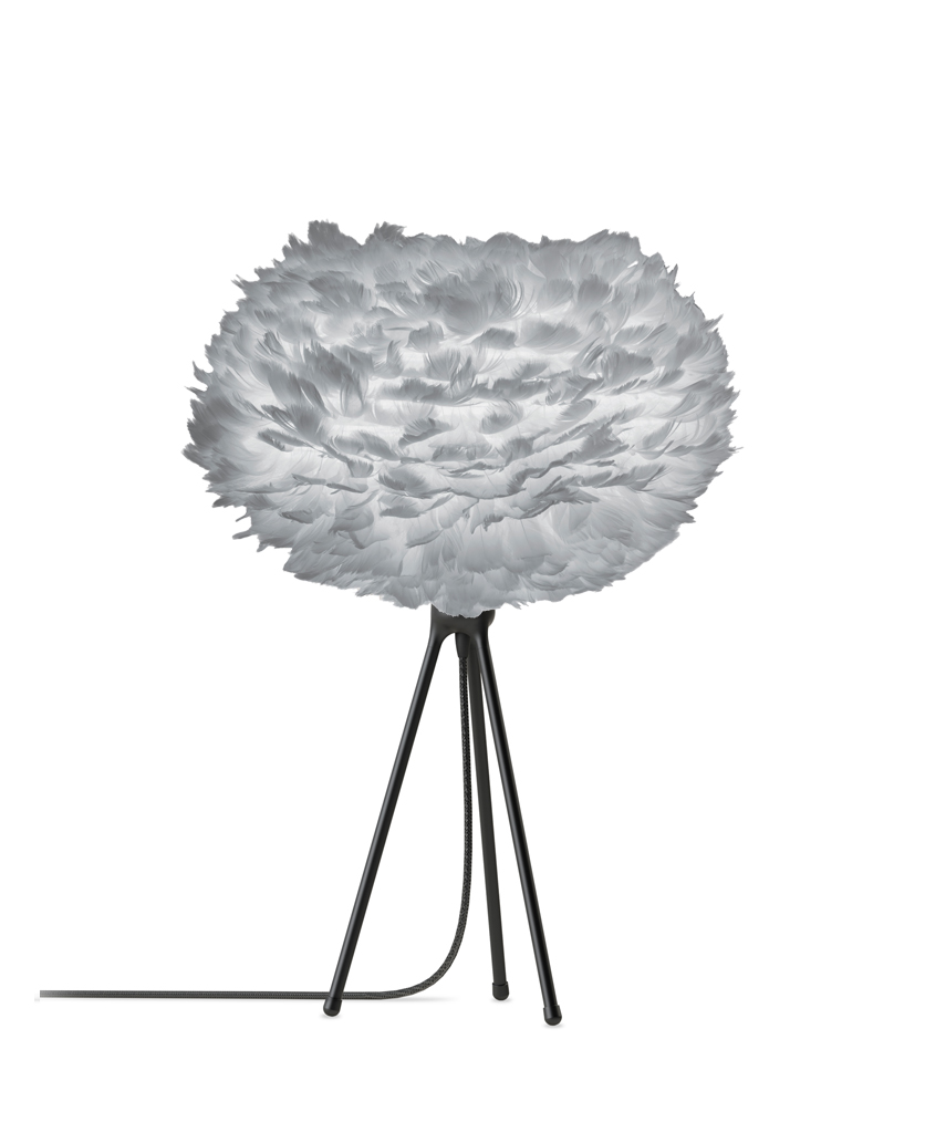 grey table lamp medium with black stand