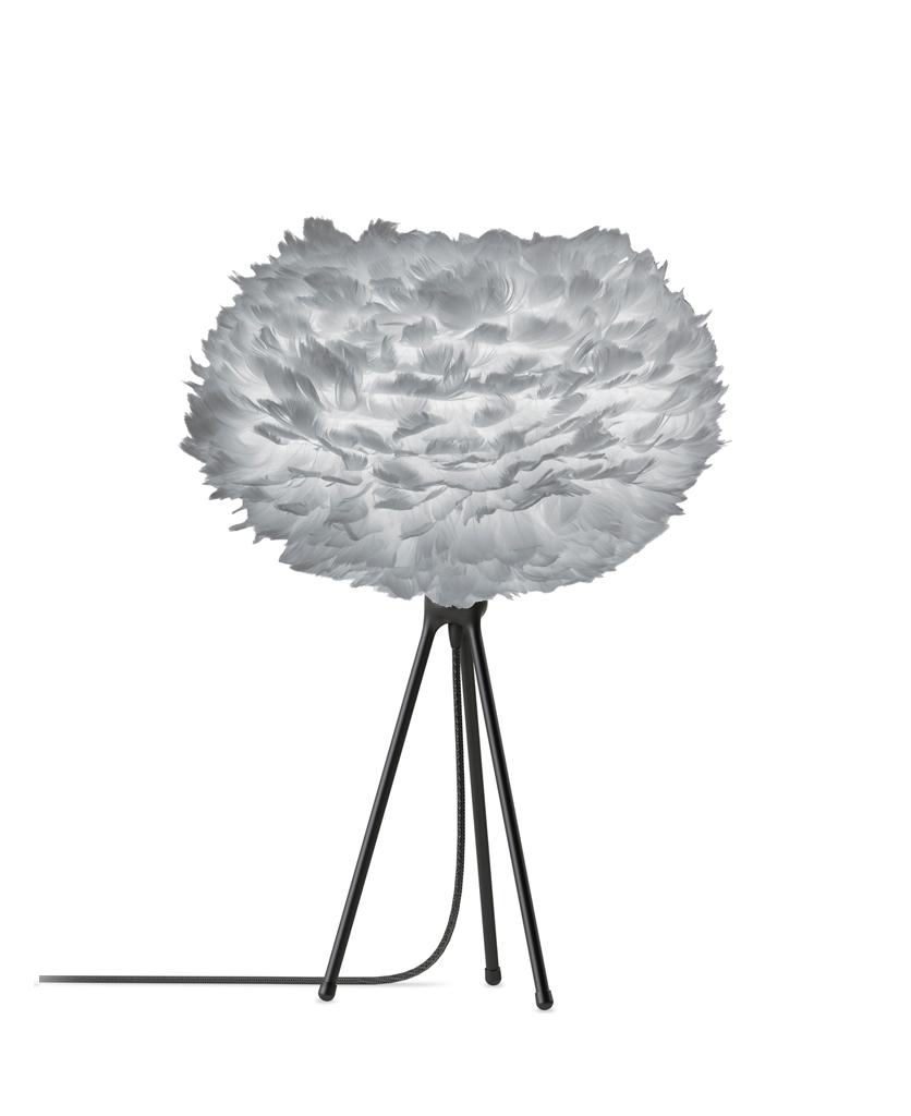 medium grey feather lamp shade with black tripod base against white background