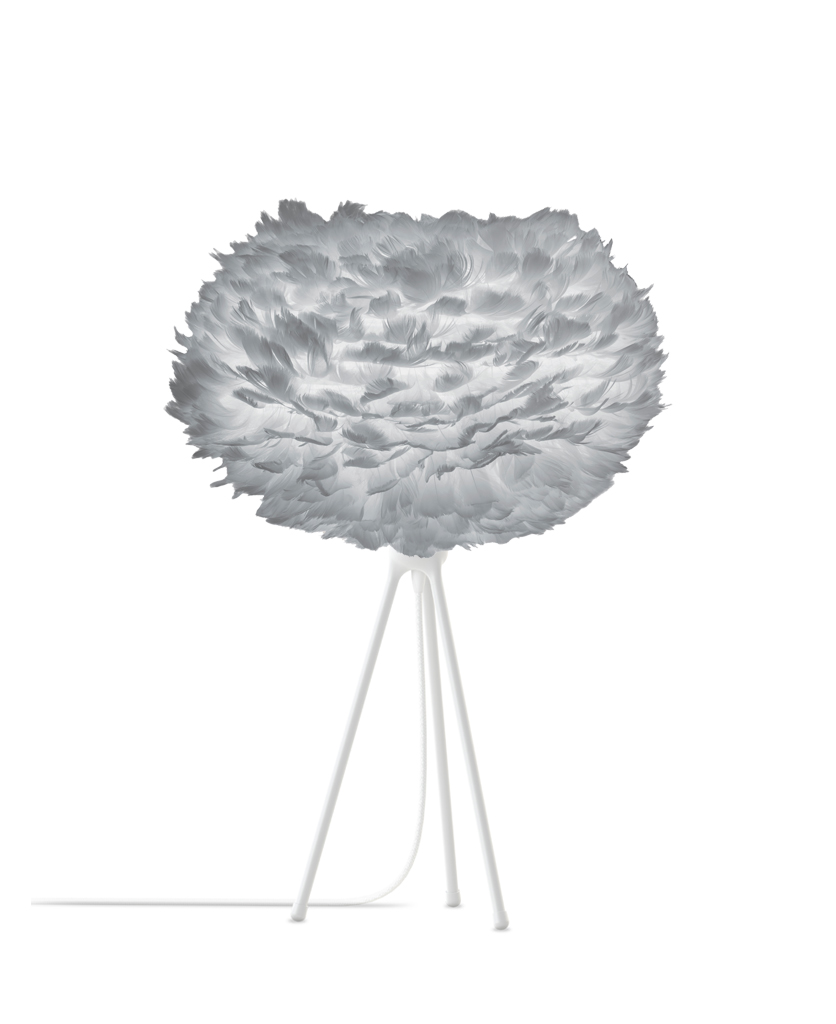 medium grey feather table lamp with white base against white background