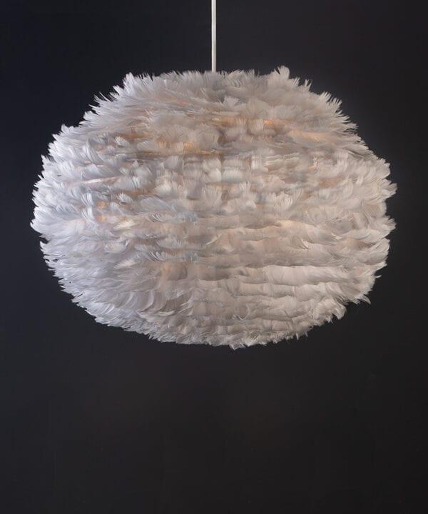 light grey umage feather pendant light with white cord set on black background