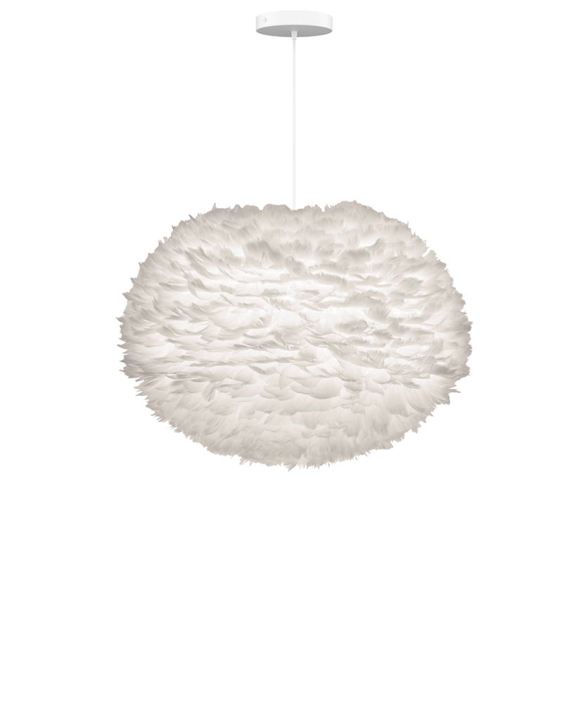 large white feather pendant light suspended from white fabric cable on white background