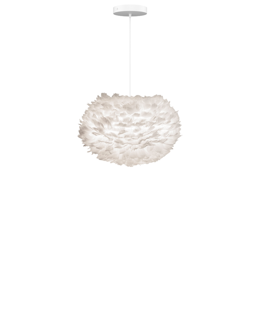 medium white feather pendant light suspended from white fabric cable on white background