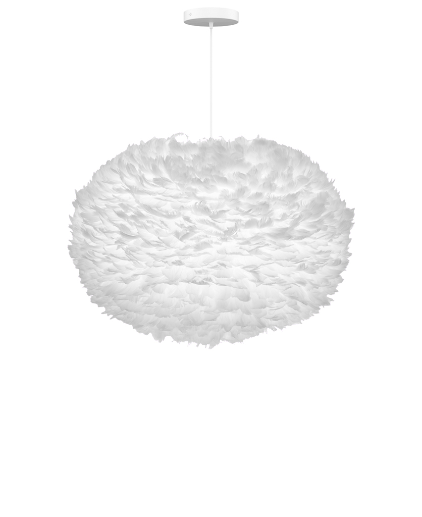 extra large white feather pendant light suspended from white fabric cable on white background