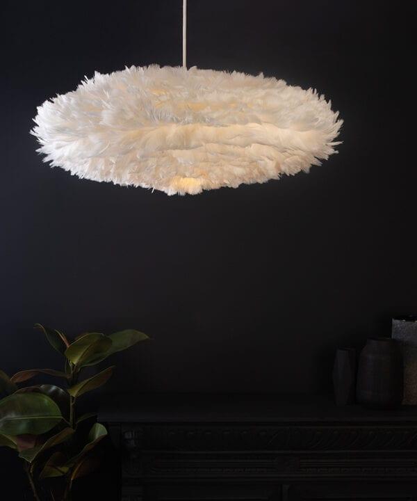 white esther umage feather pendant light on back blackground lifestyle