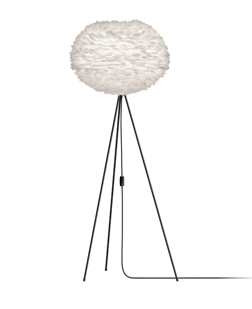 white umage large feather floor lamp with black stand against white background