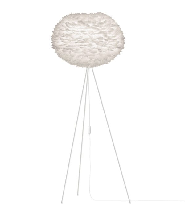 white umage large feather floor lamp with white stand against white background