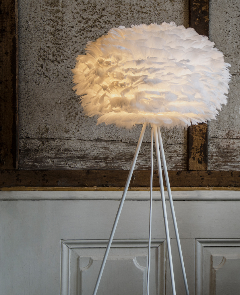 umage white feather floor lamp on white base lifestyle shot