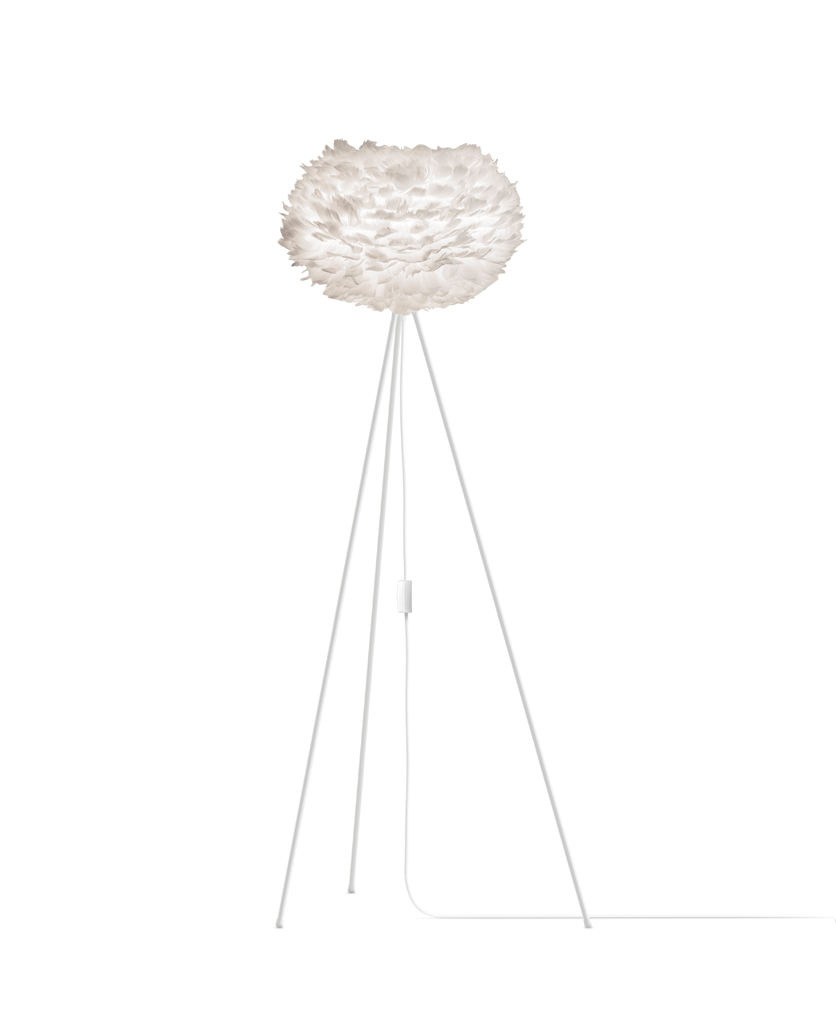 whiteumage large feather floor lamp with white stand against white background