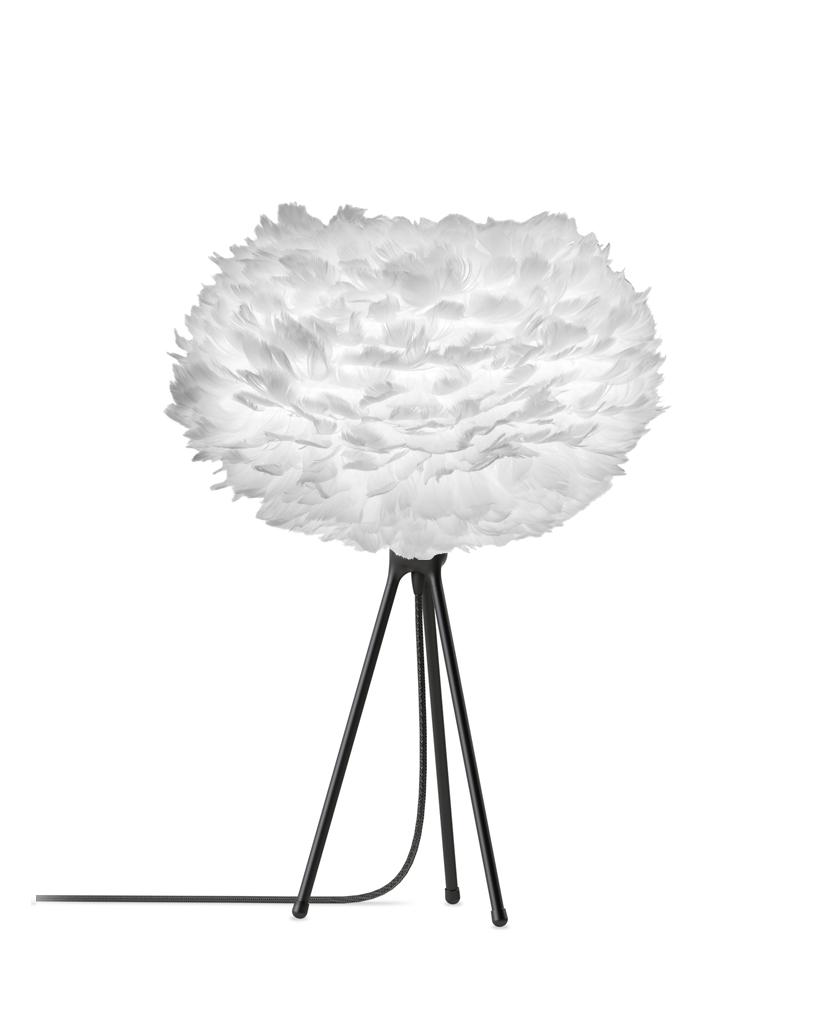medium white feather lamp shade with black tripod base against white background