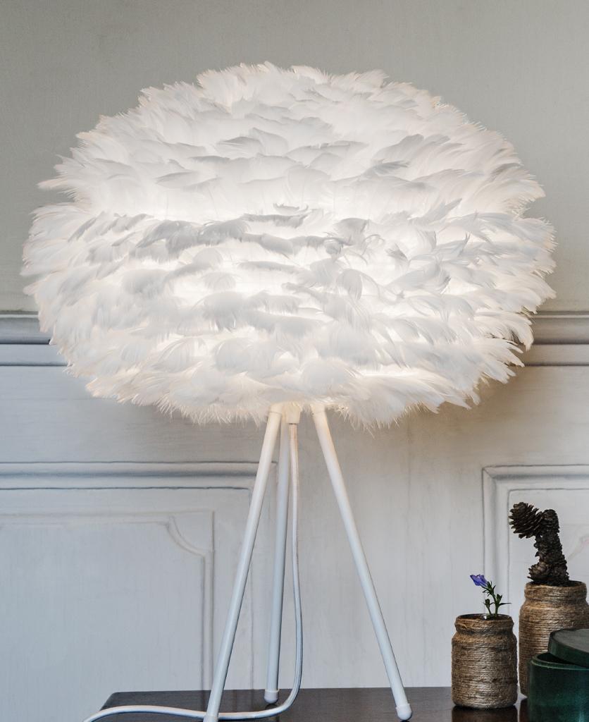 white medium table lamp with white base against white background