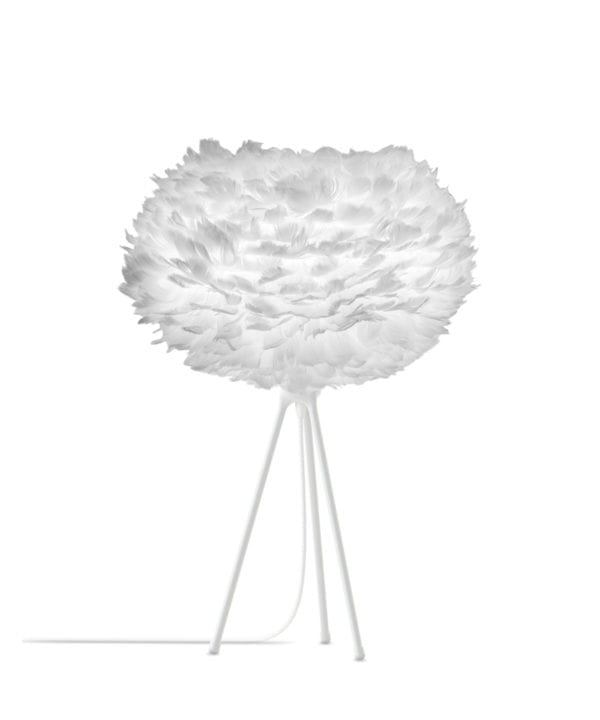 medium white feather lamp shade with white tripod base against white background feather table lamp with black base against white background