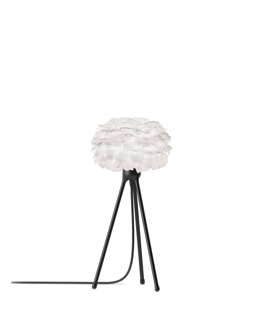 white micro feather table lamp with black base against white background
