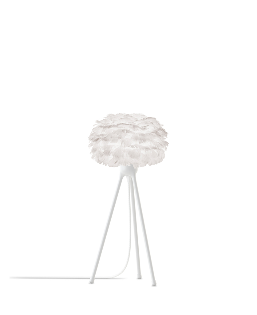 white micro feather table lamp with white base against white background