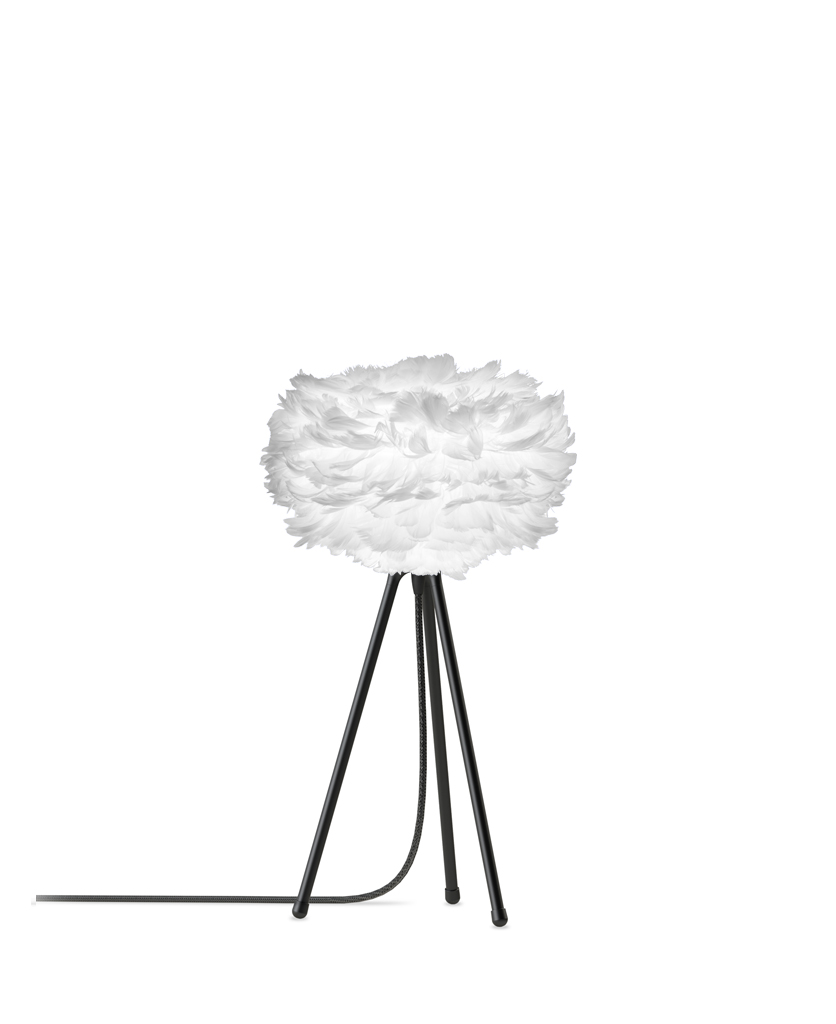 white mini feather table lamp with black base against white background