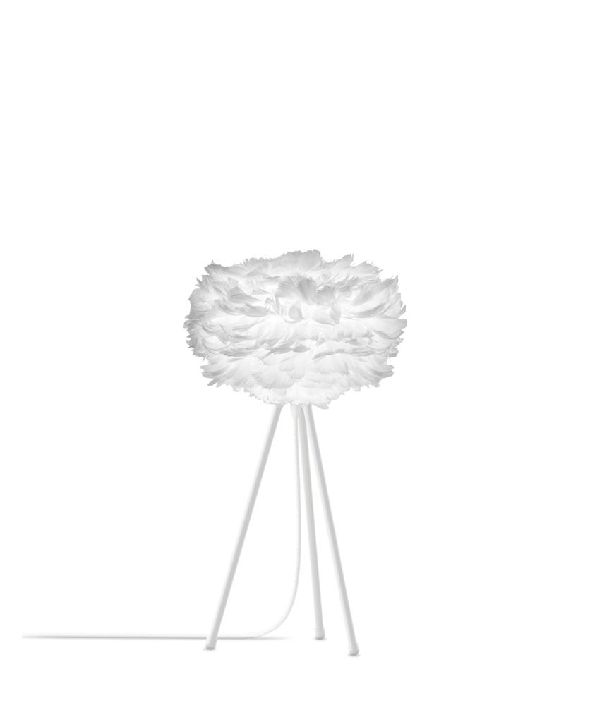 white mini table lamp with white shade & white base against white background