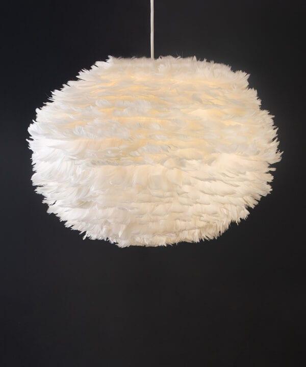white umage feather pendant light with white cord set on black background