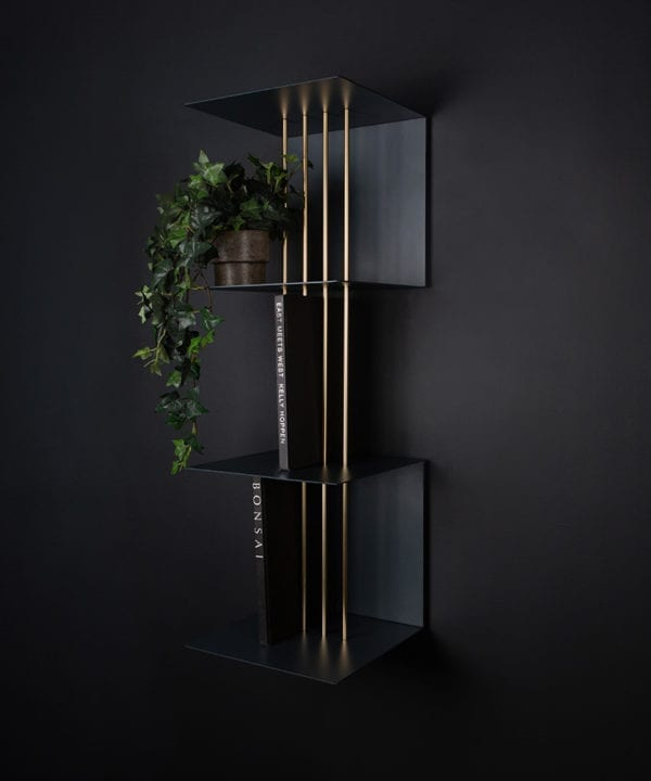 anthracite umage double teaser shelf against black background