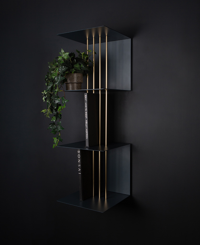 anthracite umage double teaser shelf against black background