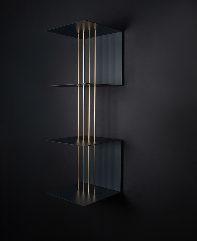 double umage anthractite teaser shelf on a black wall