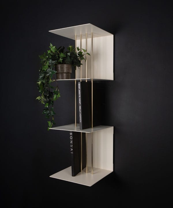 double umage teaser shelf in pearl white