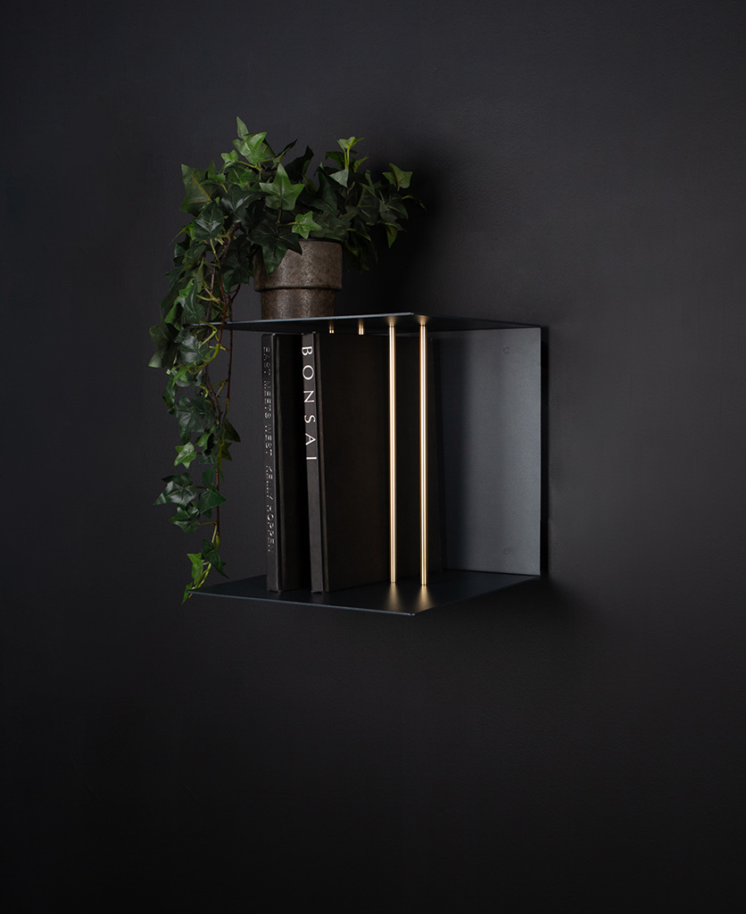 single umage anthracite teaser shelf against black background