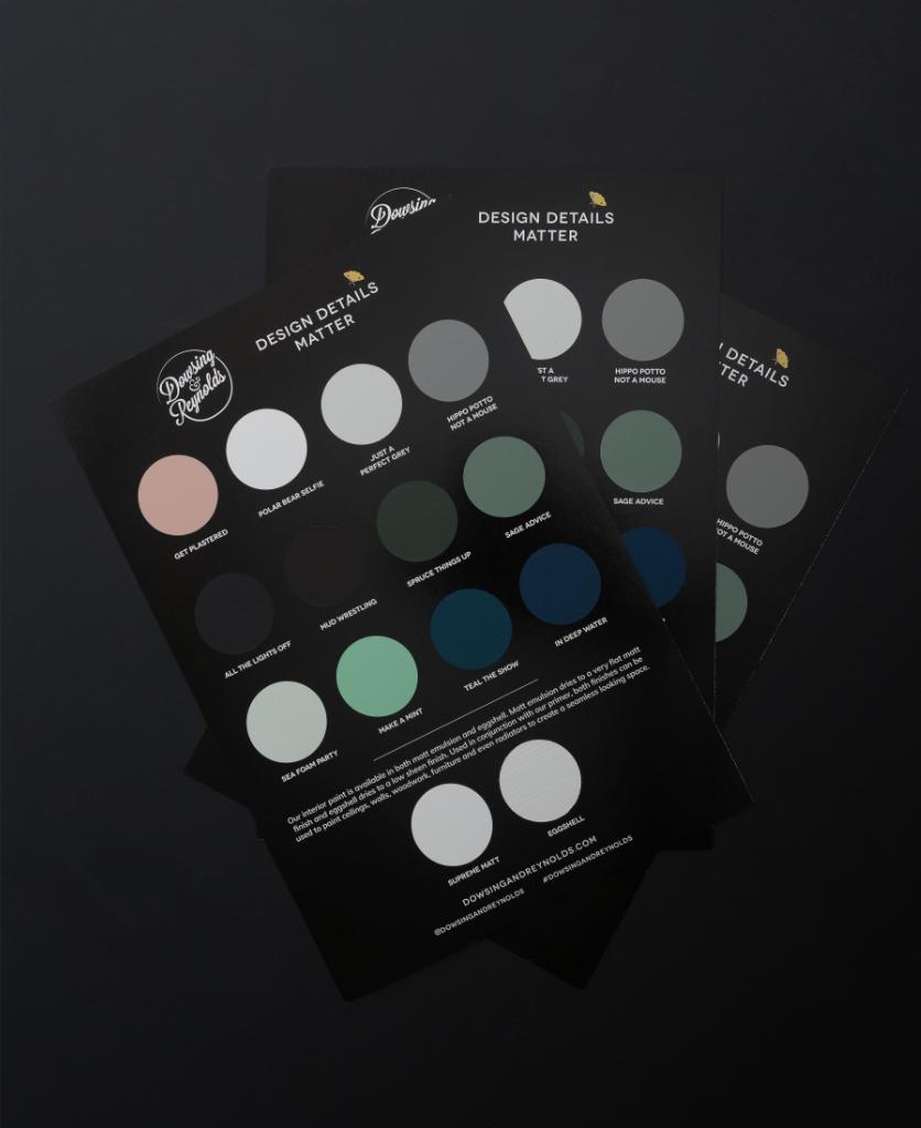 Paint sample colour card on black background